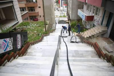 İlçe Merkezinde Bulunan Merdivenler Yıkandı